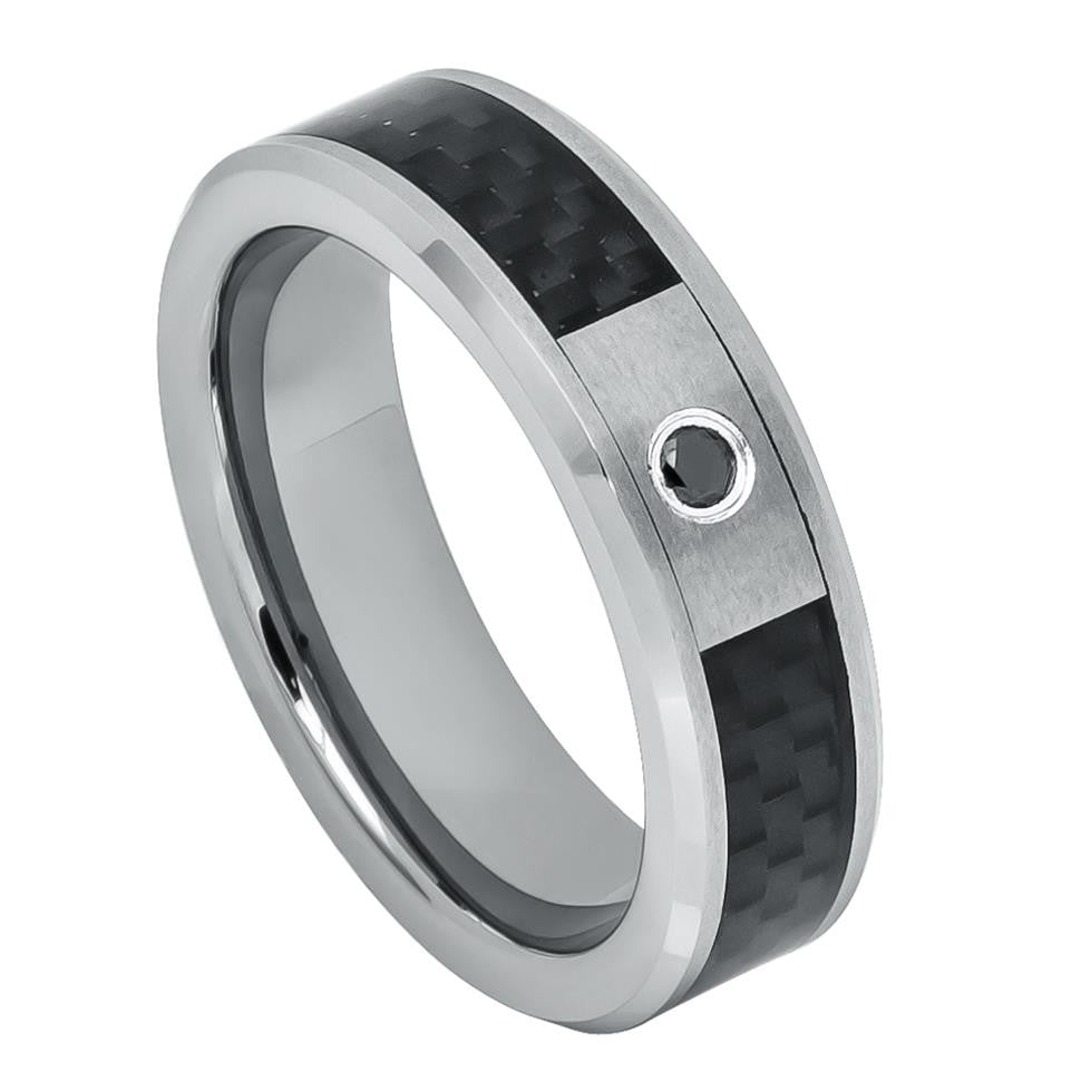 6mm Black Diamond Wedding Band 0.07ct Diamond Ring with Black Carbon Fiber Inlay