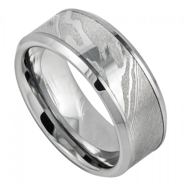 9mm Tungsten Wedding Band Laser Carved Wood Pattern/Mokume Gane Effect