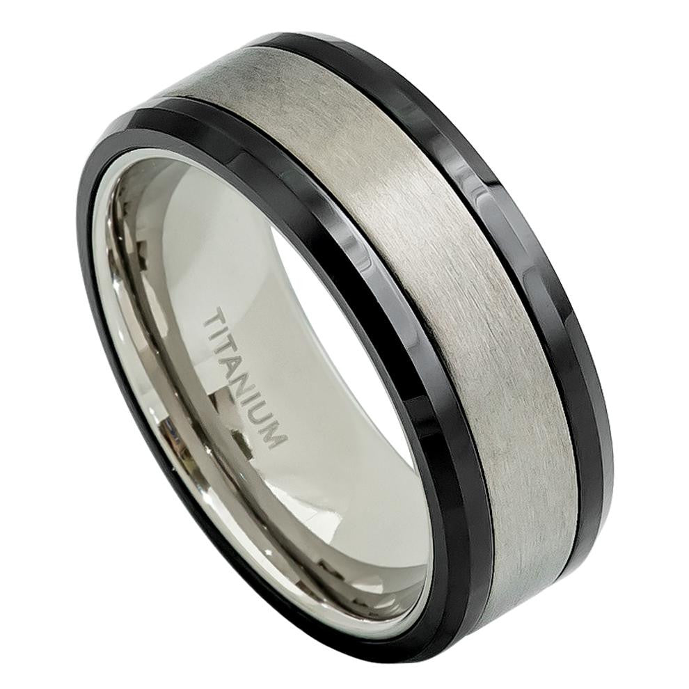 8mm Titanium Ring with High Polished Black Ceramic Beveled Edge