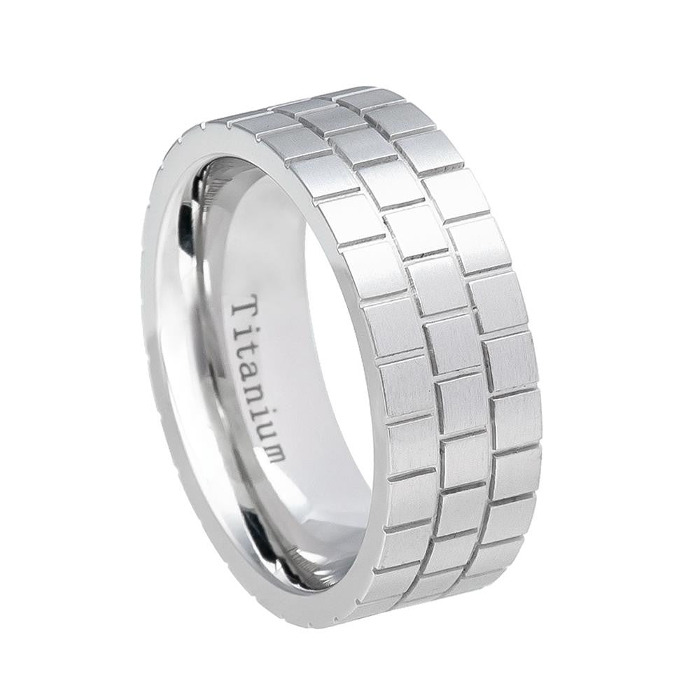 8mm Titanium Wedding Band White IP Plated Pipe-Cut Brick Pattern Design Ring