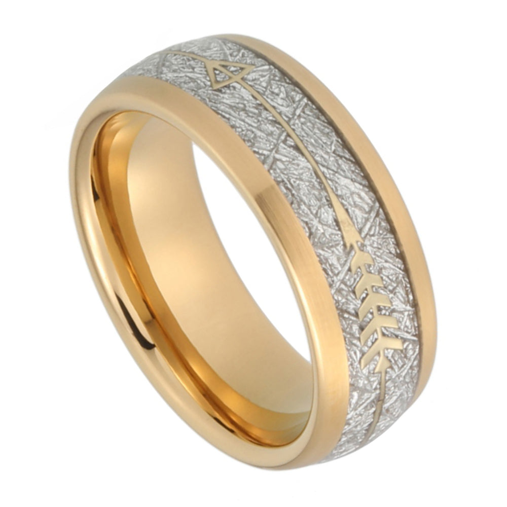 Gold IP Tungsten Wedding Band With Gold Steel Arrow And White Meteorite Inlays
