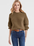 Gigi Cotton Shaker Balloon Sleeve Cropped Sweater