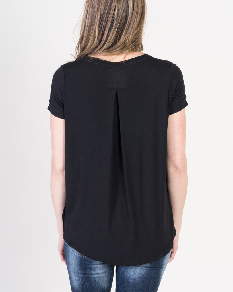 Majestic Short Sleeve Crewneck Relaxed Tee in Black