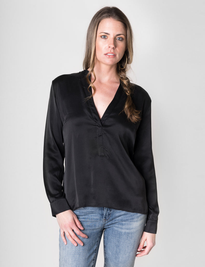 Majestic Long Sleeve Silk Top