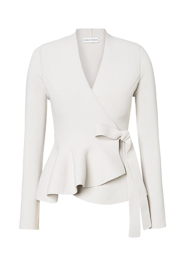 CREPE KNIT WRAP JACKET, CHALK color