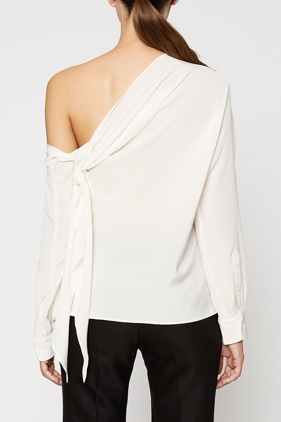 CDC CRAVAT BLOUSE, WHITE color