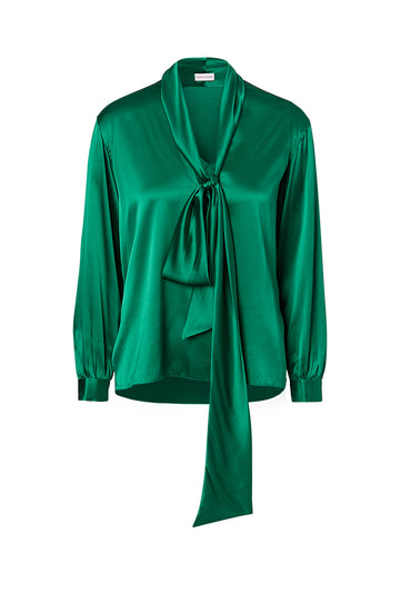 SILK SATIN TIE NECK BLOUSE, EMERALD color