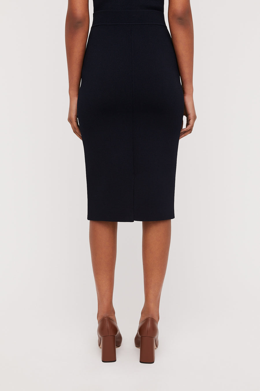 CREPE KNIT SLIT BACK SKIRT, NAVY color