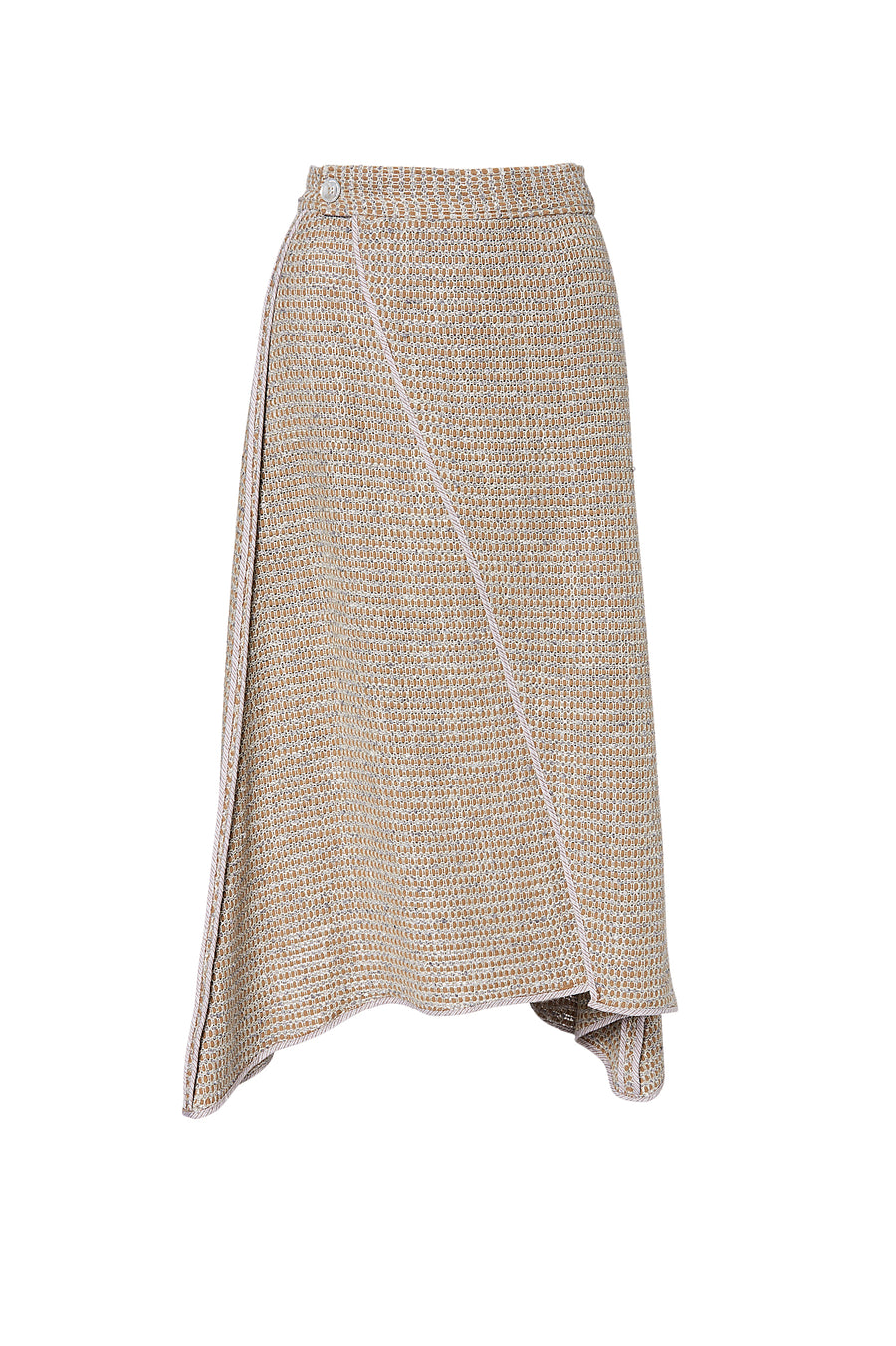 BASKET WEAVE SKIRT CAMEL, CAMEL color