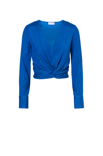 SILK TURBAN TWIST BLOUSE, BLUE color