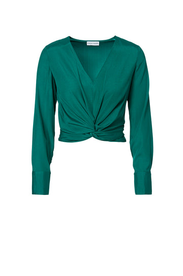 SILK TURBAN TWIST BLOUSE, EMERALD color