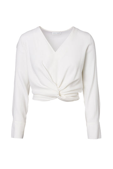 SILK TURBAN TWIST BLOUSE, OPTICAL WHITE color