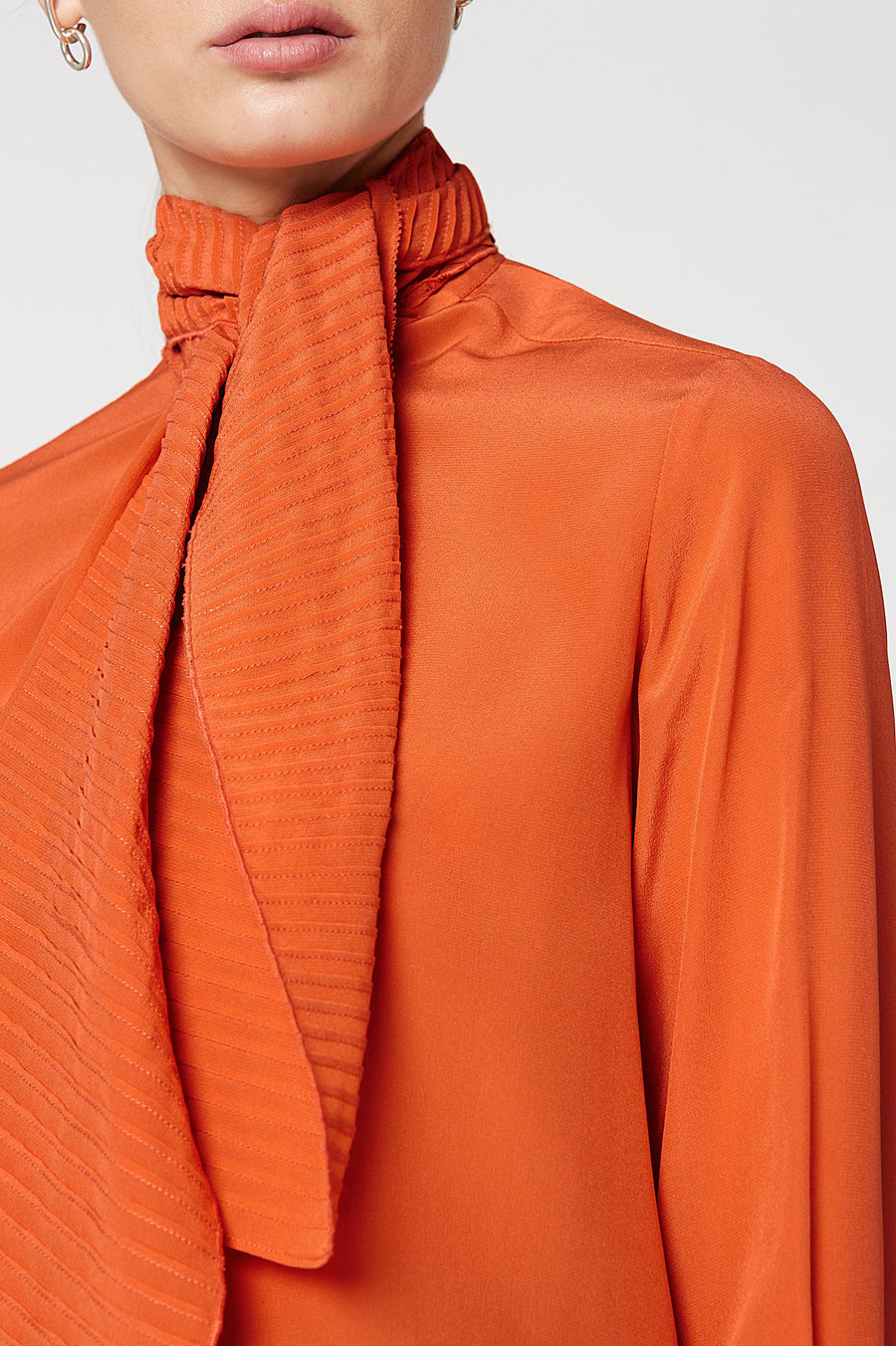 CDC PINTUCK TIE BLOUSE, ORANGE color