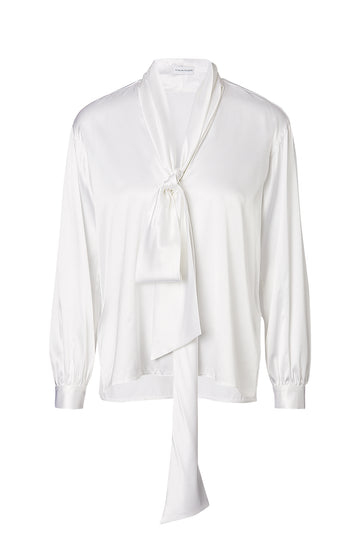 SILK SATIN TIE NECK BLOUSE, OPTICAL WHITE color