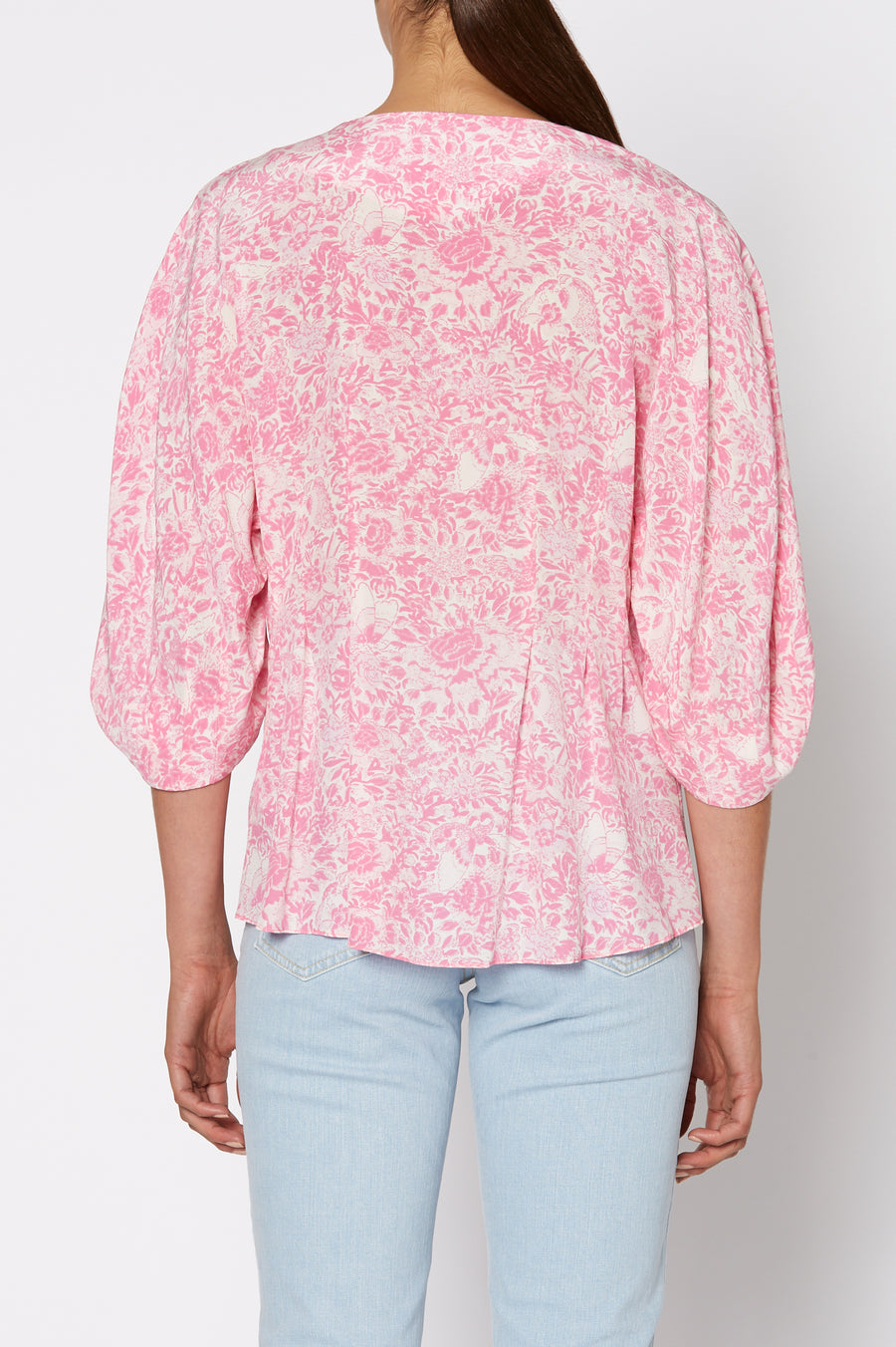 CDC FLORAL COCOON SLEEVE BLOUSE, PINK color