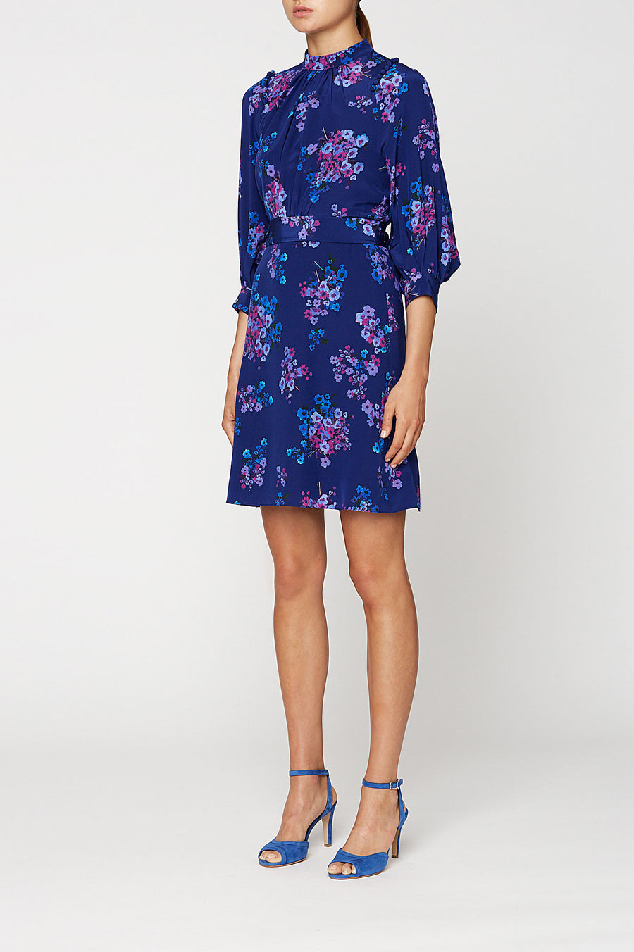 CDC PRINTED BUTTON SHLDR DRESS, BLUE color