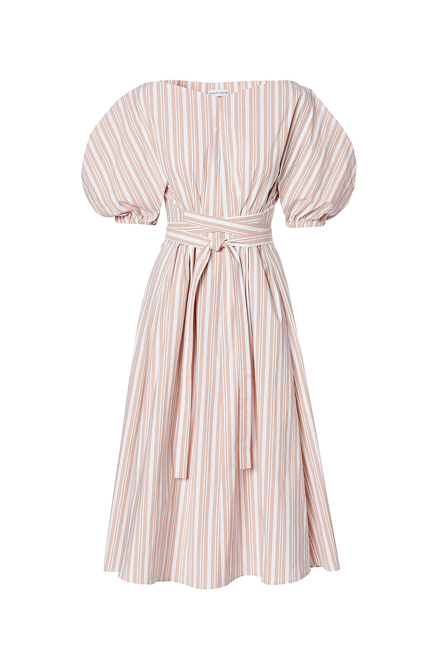 STRIPED COCOON SLEEVE DRESS, PEACH color