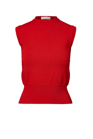 CREPE KNIT TANK, RED color