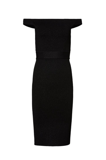 CREPE KNIT TINSEL DRESS, BLACK color