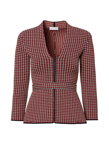 CREPE KNIT PLAID JACKET, RED color