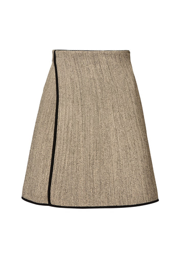 CREPE KNIT TWEED WRAP SKIRT, CONNECTICUT color