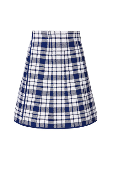 CREPE KNIT CHECK WRAP SKIRT, COBALT color
