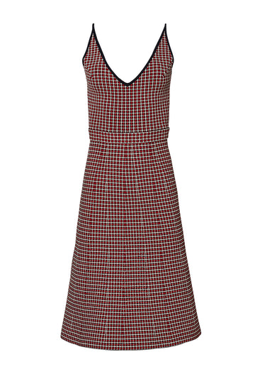 CREPE KNIT PLAID DRESS, RED color