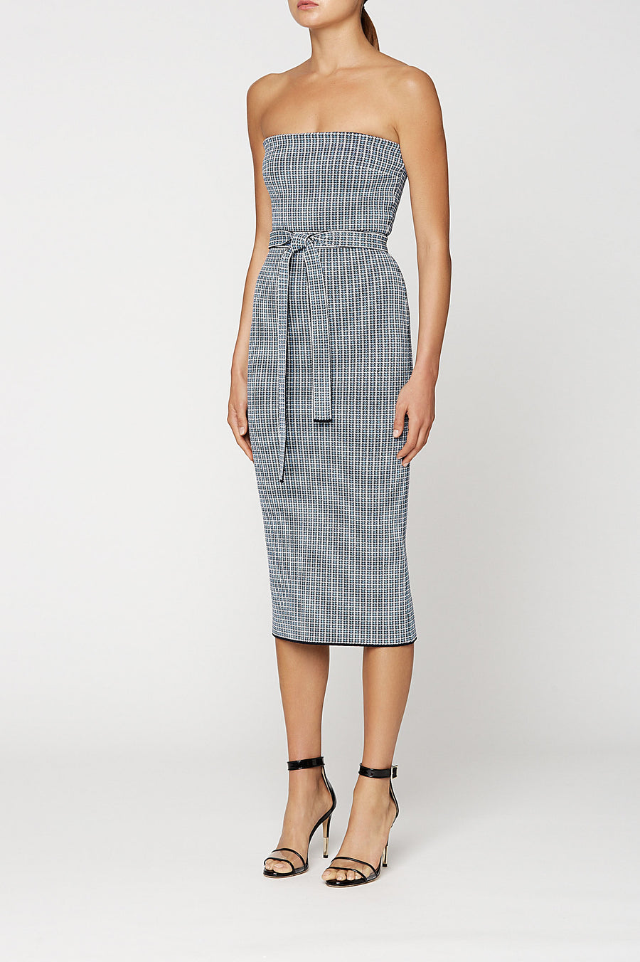 CREPE KNIT PLAID STRAPLESS DRESS, PALE BLUE color