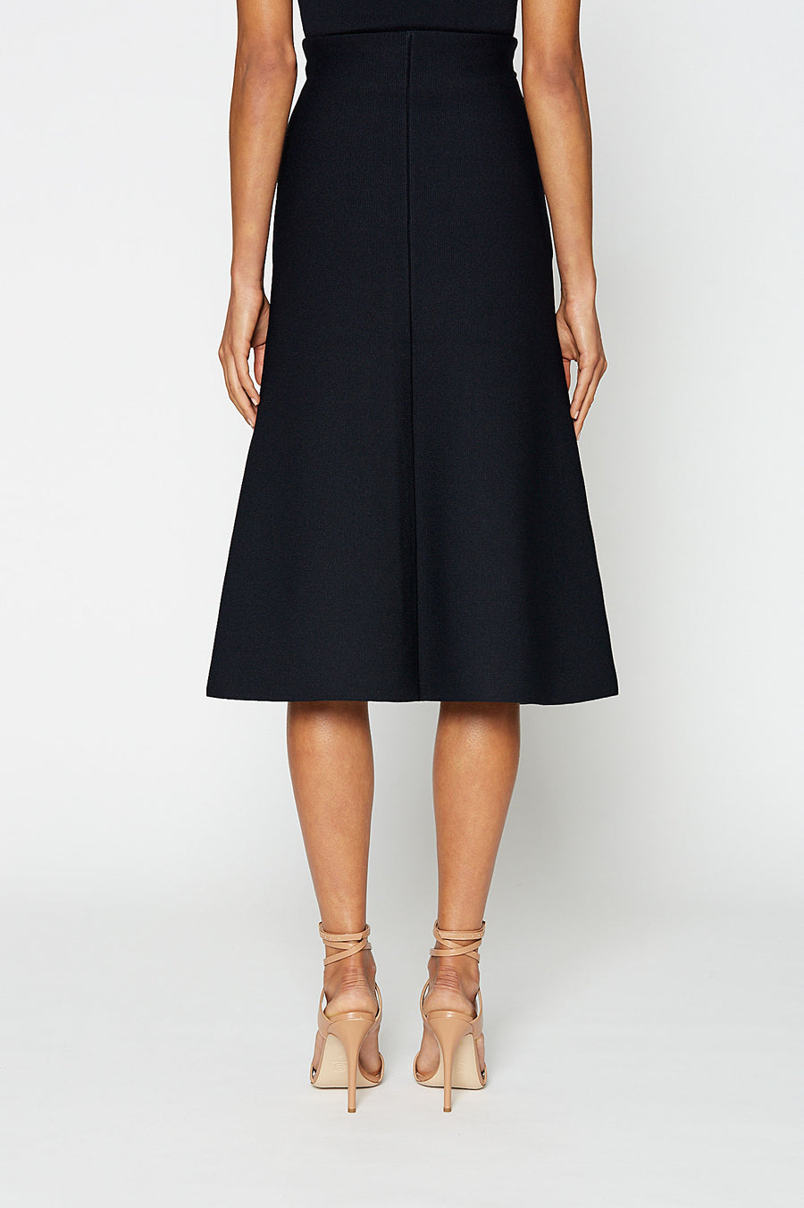 CREPE KNIT A-LINE SKIRT, NAVY color