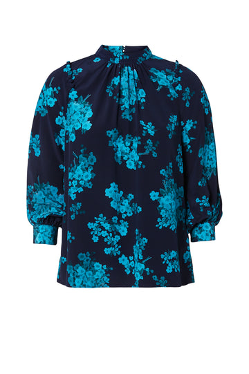 CDC PRINTED BUTTON SHLDR BLOUSE, NAVY color