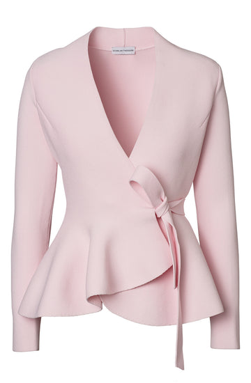 CREPE KNIT WRAP JACKET, ANGEL color
