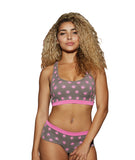 Women's Athletic Rib Knit Bralette and Boyshort Set