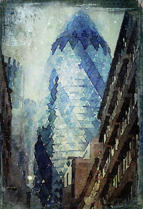City Blue London Gherkin, London art wall