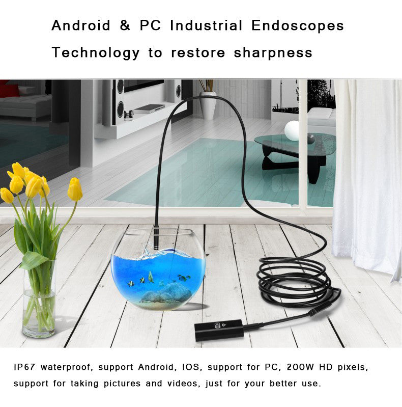 2017 new WIFI phone endoscope IP67 waterproof, support Android, IOS, support for PC, 200W HD pixels, support for taking pictures and videos