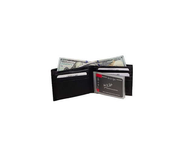 Paul & Taylor Black Genuine Leather Bifold Wallet With ID Window