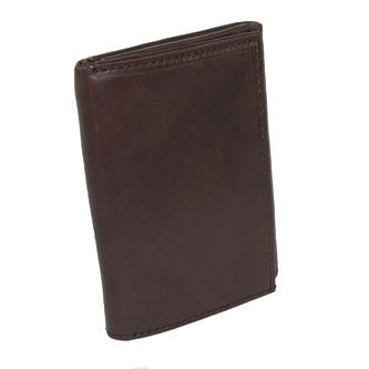 Paul & Taylor Dark Brown Leather Trifold Wallet with ID Window