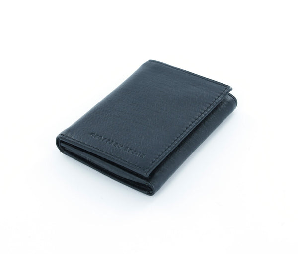 Geoffrey Beene Black Genuine Leather Trifold Wallet with ID Window