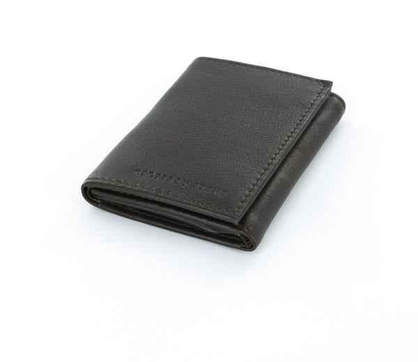 Geoffrey Beene Brown Genuine Leather Trifold Wallet with ID Window