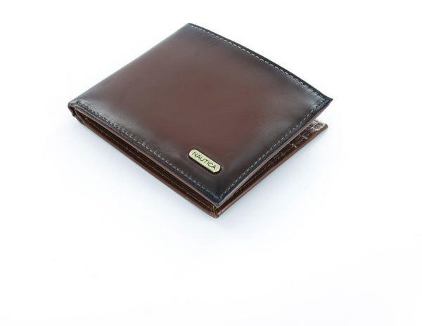 Nautica Tan Leather Passcase Wallet with ID Window