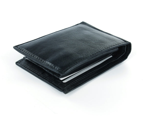 Paul & Taylor Black Genuine Leather Extra Capacity Bi-Fold Wallet with Flip ID Window
