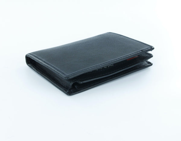 Paul & Taylor Black Genuine Leather Bi-Fold Wallet with Flip ID Window
