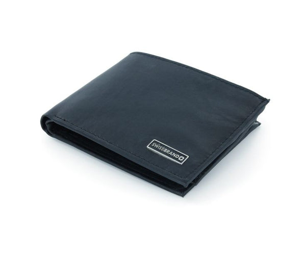 Swiss Brand Black Genuine Leather Bifold Wallet