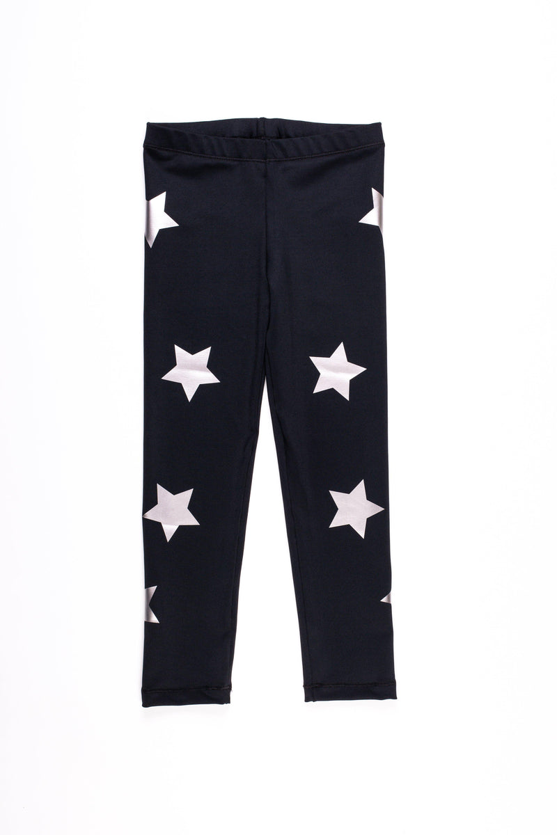Stars Silver Black Leggings