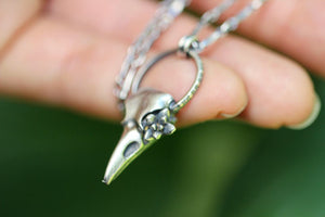 Mini succulent raven skull necklace #7