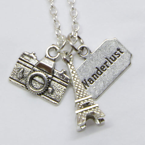 """EIFFEL TOWER"" WANDERLUST PENDANT CHARMS NECKLACE"