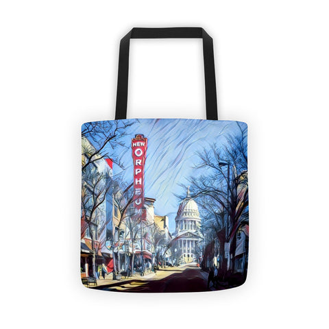 ORPHEUM THEATER & WI CAPITOL in MADISON, WISCONSIN (Red) - Tote bag
