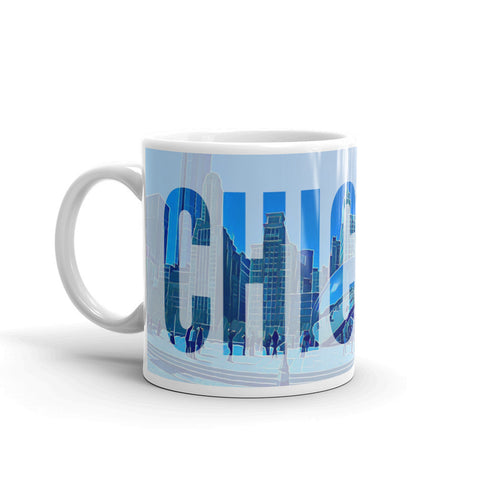CHICAGO at CLOUD GATE (THE BEAN) with BRIGHT BLUE SKY - Coffee & Tea Mug