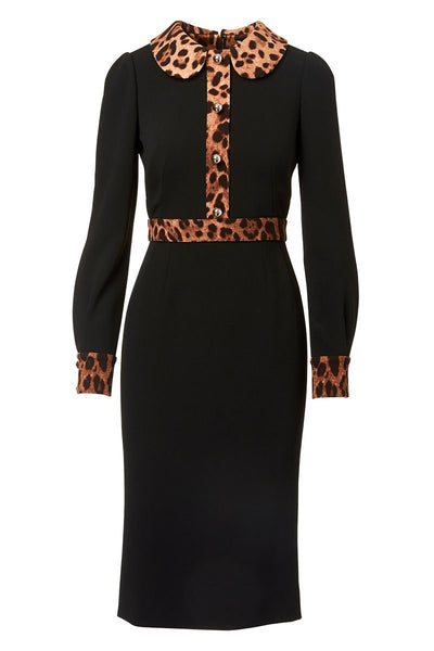 Leopard Trim Shirt Dress