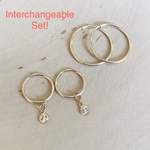 Tiny Sparkles Gold Hoop SET