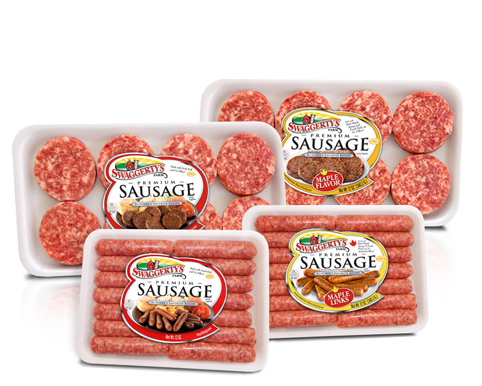 Premium Pork Breakfast Sausage Collection<br>(12 assorted tray packs)